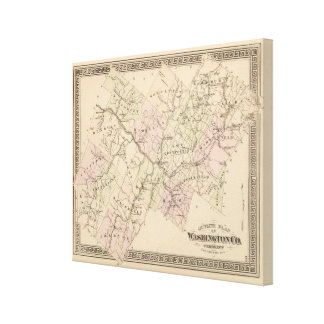 Outline plan of Washington County in Vermont Canvas Print