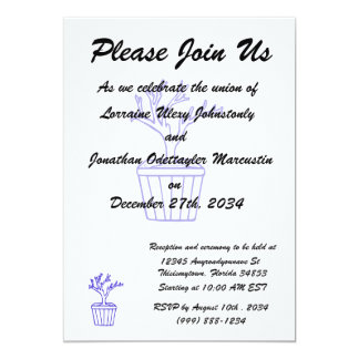 "outline tree in pot blue.png 5"" x 7"" invitation card"