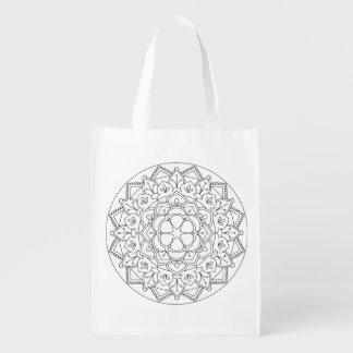 Outlined Floral Mandala  060517_1 Reusable Grocery Bag