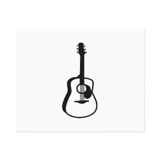 outlined guitar graphic black canvas prints