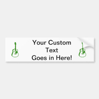 outlined guitar graphic green bumper sticker