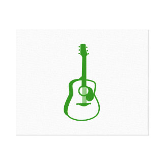 outlined guitar graphic green gallery wrapped canvas