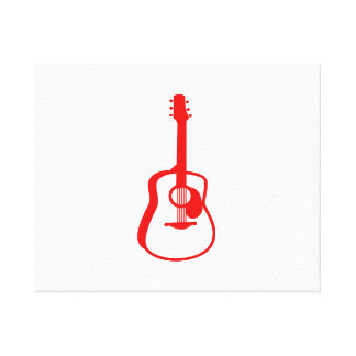 outlined guitar graphic red gallery wrap canvas
