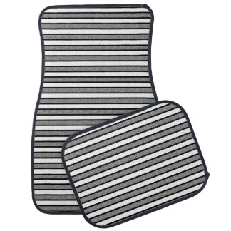 Outlined Stripes Black and Grey Car Mat