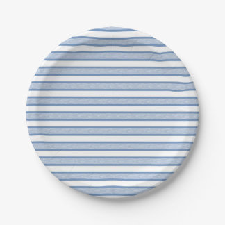Outlined Stripes Blue/Grey 7 Inch Paper Plate
