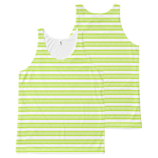 Outlined Stripes Lime Green All-Over Print Tank Top