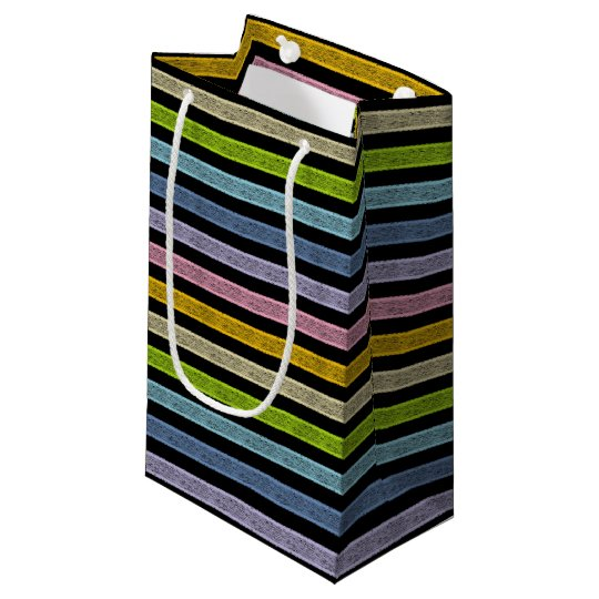 Outlined Stripes Pastel Rainbow Black Small Gift Bag