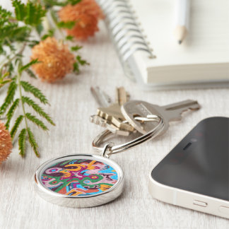 Outpouring Silver-Colored Round Key Ring
