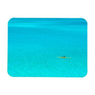 Outrigger canoe in Bora Bora rectangular magnet
