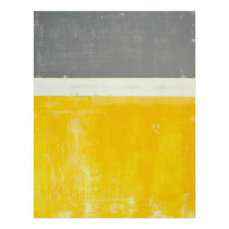 'Outside' Grey and Yellow Abstract Art Poster