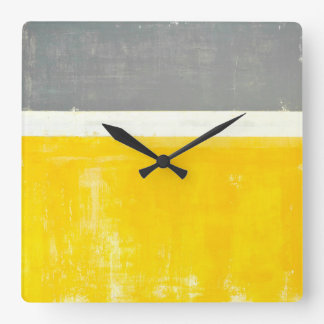 'Outside' Grey and Yellow Abstract Art Square Wall Clock