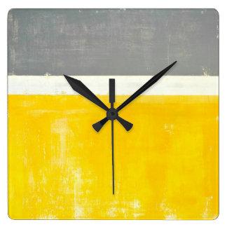 'Outside' Grey and Yellow Abstract Art Wallclocks