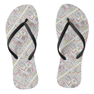 Outside The Box-Abstract Geometric Doodle Flip Flops