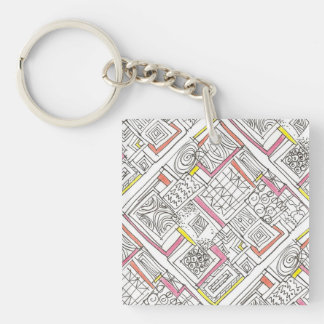 Outside The Box-Abstract Geometric Doodle Key Ring