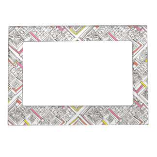 Outside The Box-Abstract Geometric Doodle Magnetic Picture Frame