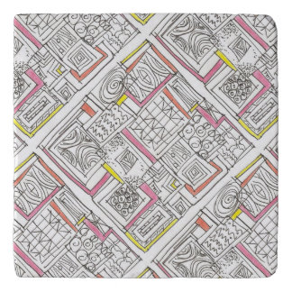 Outside The Box-Abstract Geometric Doodle Trivet