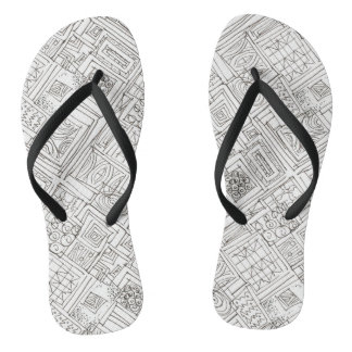 Outside The Box-Black and White Abstract Doodle Flip Flops
