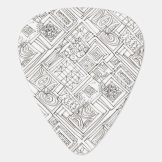Outside The Box-Black and White Abstract Doodle Plectrum