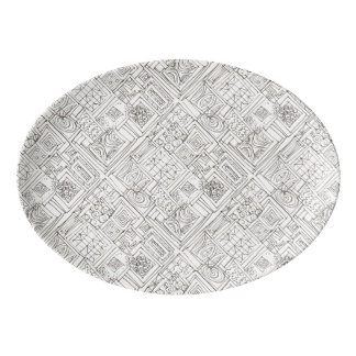 Outside The Box-Black and White Abstract Doodle Porcelain Serving Platter
