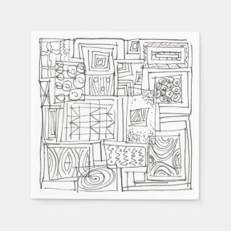 Outside The Box-Black and White Geometric Doodle Disposable Serviette