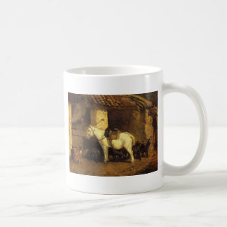 Outside the Stable by Constant Troyon Coffee Mug