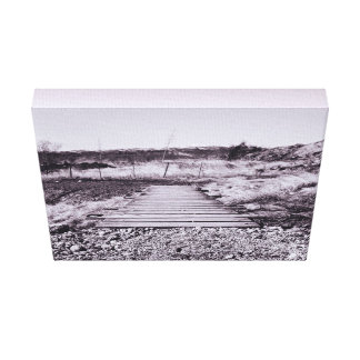 Outside Themed, Black And White Wooden Pathway Cro Canvas Prints