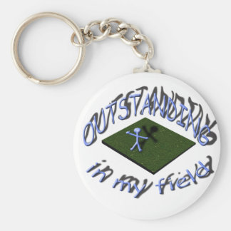 outstanding in my field. basic round button key ring