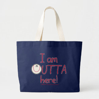 Outta Here! Baseball Character Large Tote Bag