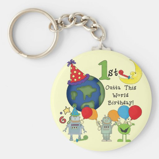 Outta This World 1st Birthday Tshirts and Gifts Key Chain