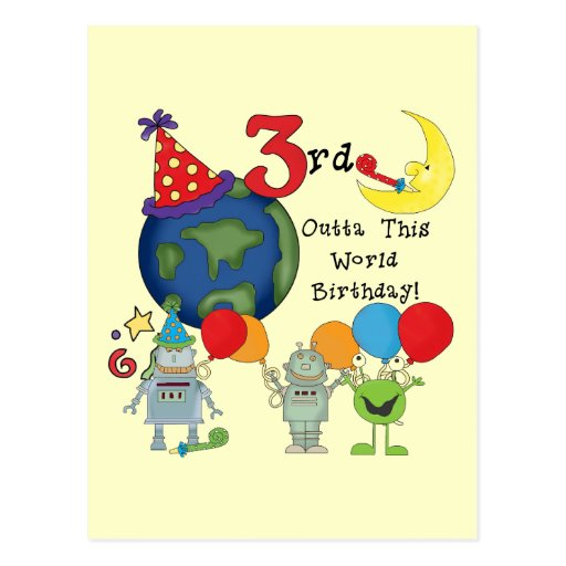 Outta This World 3rd Birthday T-shirts and Gifts Postcards