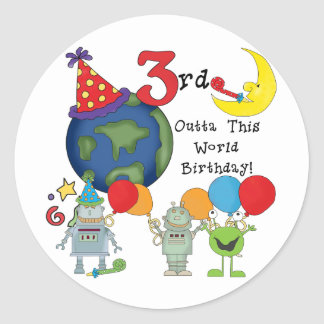 Outta This World 3rd Birthday T-shirts and Gifts Round Sticker