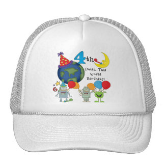Outta This World 4th Birthday Tshirts and Gifts Hats