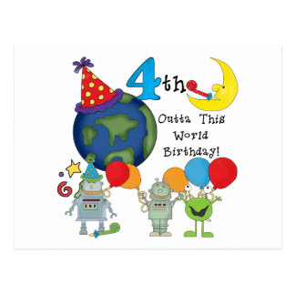 Outta This World 4th Birthday Tshirts and Gifts Postcard