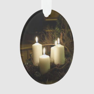 OVAL ACRYLIC ORNAMENT W/PHOTO OF CHRISTMAS CANDLES