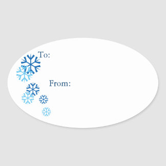 Oval Blue Colored Snowflake Gift Tag Stickers