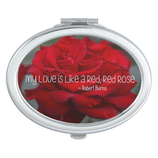 Oval Compact Mirror My Love Red Rose