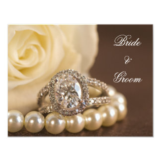 "Oval Diamond and Pearls Engagement Announcement 4.25"" X 5.5"" Invitation Card"
