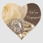 Oval Diamond Ring Engagement Envelope Seals Heart Sticker