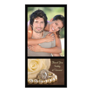 Oval Diamond Ring on Brown Wedding Thank You Personalized Photo Card
