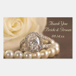 Oval Diamond Ring Rose Wedding Thank You Favor Tag Rectangular Sticker