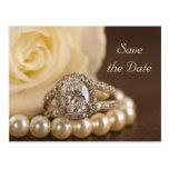 Oval Diamond Ring Wedding Save the Date Postcard