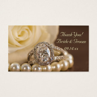 Oval Diamond Ring White Rose Wedding Favor Tags