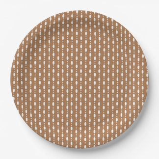 Oval Dots in Line - Fall Tan Paper plate