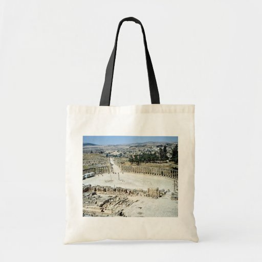 Oval forum from Temple of Zeus, Roman city of Jera Canvas Bags