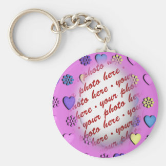 Oval Frame Pink with hearts Keychain