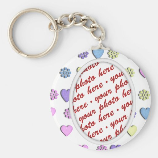 Oval Frame With hearts Keychains