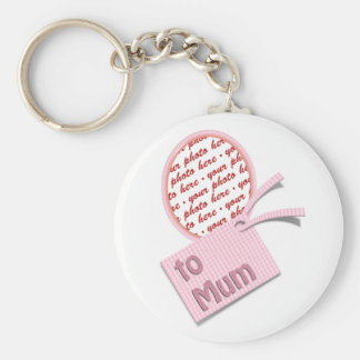 Oval Frame with Pink Check Fabric For Mum Keychain