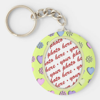 Oval Frame yellow with hearts Keychain