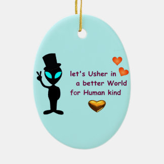 Oval Hanging Ornament- Alien Peace Call Christmas Ornament