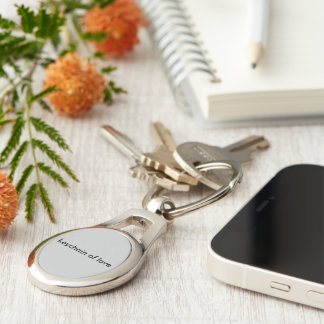 Oval keychain of love Silver-Colored oval key ring